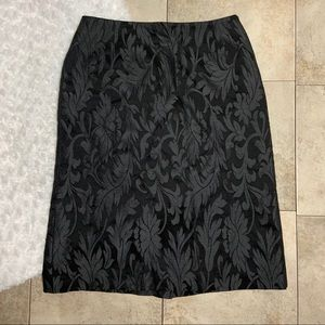 MaxMara Wool Silk Black Floral Brocade Skirt